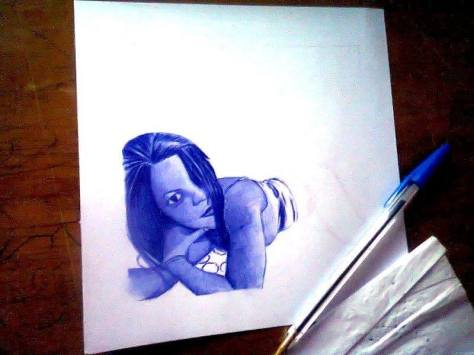 Kwesi Botchway blue ink drawing in progress