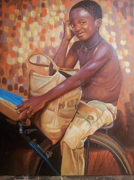 Kwesi Botchway painting of boy on bicycle