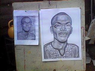 Kwesi Botchway drawing in progress and reference photo