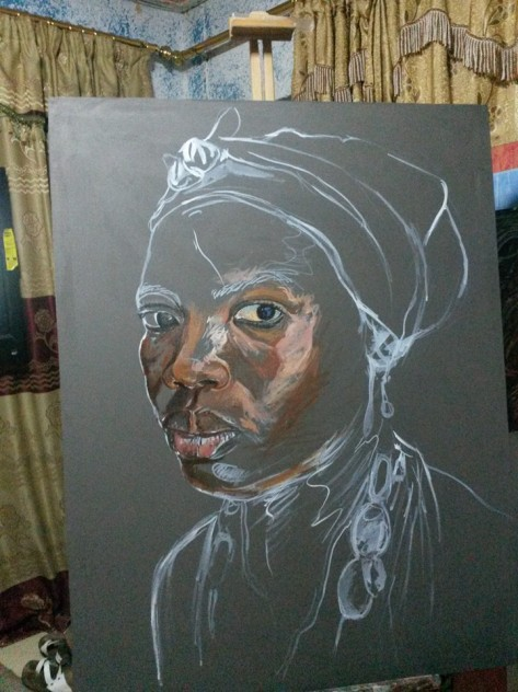 Kwesi Botchway portrait painting in progress