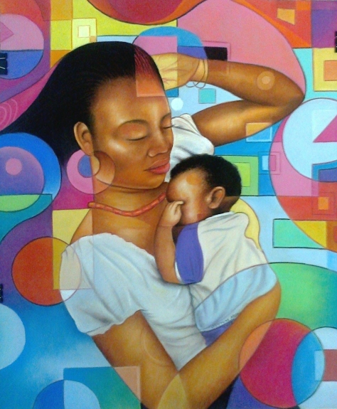 Mother and Child painting by Moses Marquis Okpey