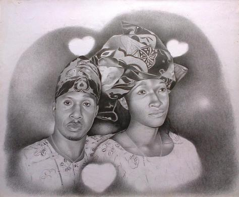 Nigerian Couple, pencil portrait by Moses Marquis Okpeyowan