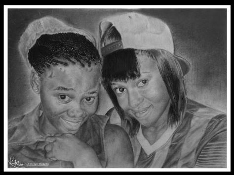 Peter Asare double portrait drawing