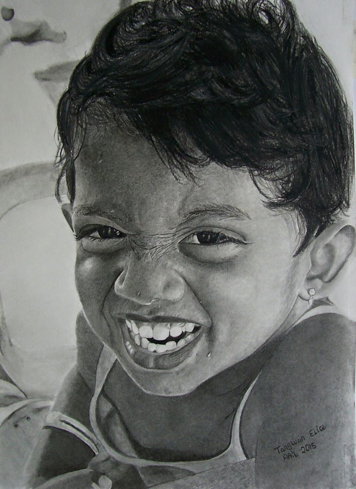 portrait drawing of boy by Tangway Elice