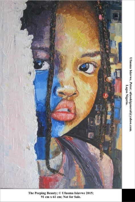 The Peeping Beauty, portrait painting by Ufuoma Isiavwe