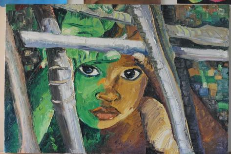 Peeping Beauty II, portrait painting by Ufuoma Isiavwe
