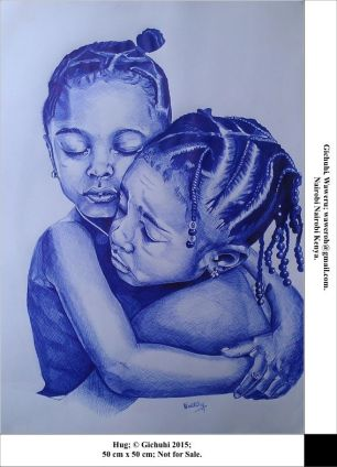 double portrait drawing by Waweru Gichuchi