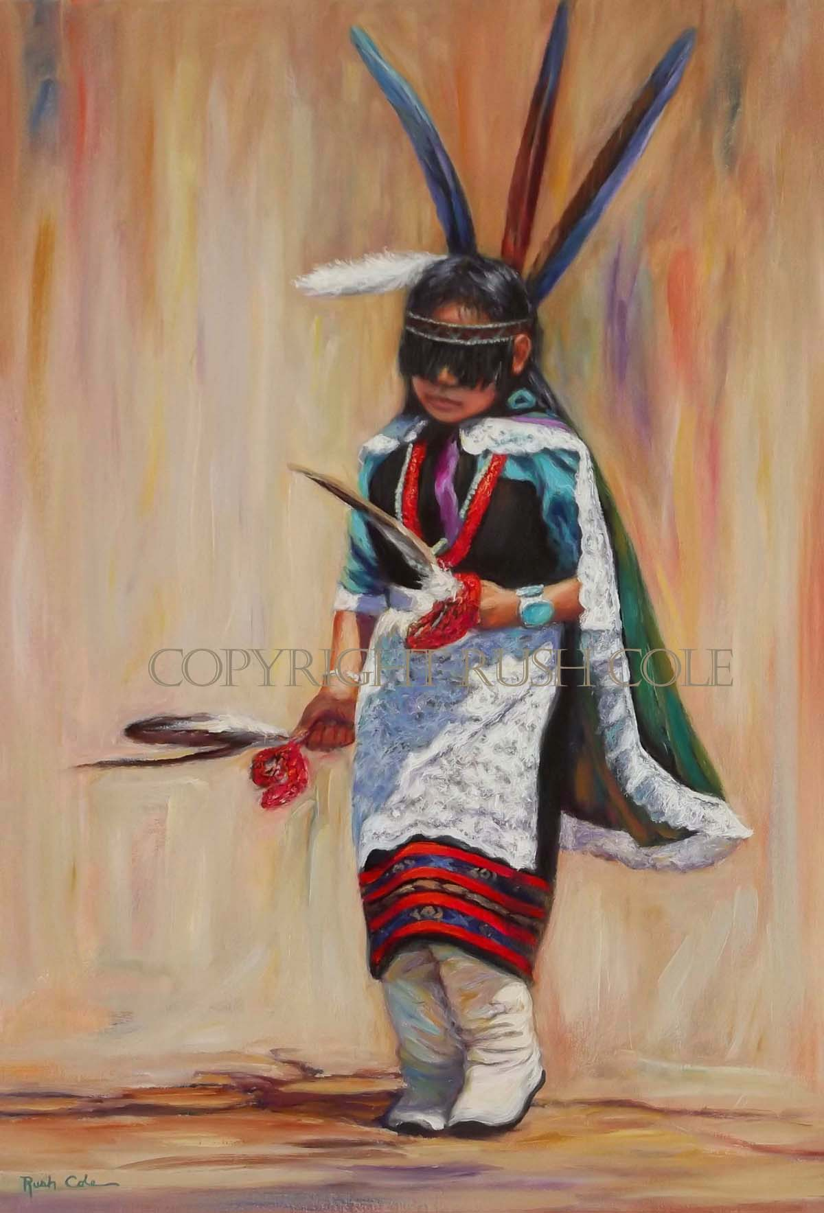 """""""YOUNG PUEBLO MAIDEN"""", 18"""" x 26"""", Oil on canvas, Gallery-wrapped: $5500."""