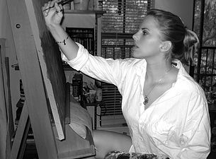 Michelle Staton at work in her studio