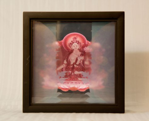 """3D Tara Goddess Lightbox-Dot Gate"" (2014) Three layers of acrylic art in black wooden box, edge-lit by adjustable LED lighting."