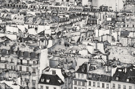 Rooftops of Paris, photograph by Harold Davis from book The Photographer's Black and White Handbook, pg 196-197, split-toned image, book published by Monacelli Studio